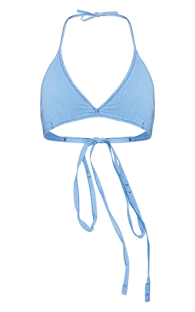 Light Blue Wash Strappy Denim Bralet Crop Top 5