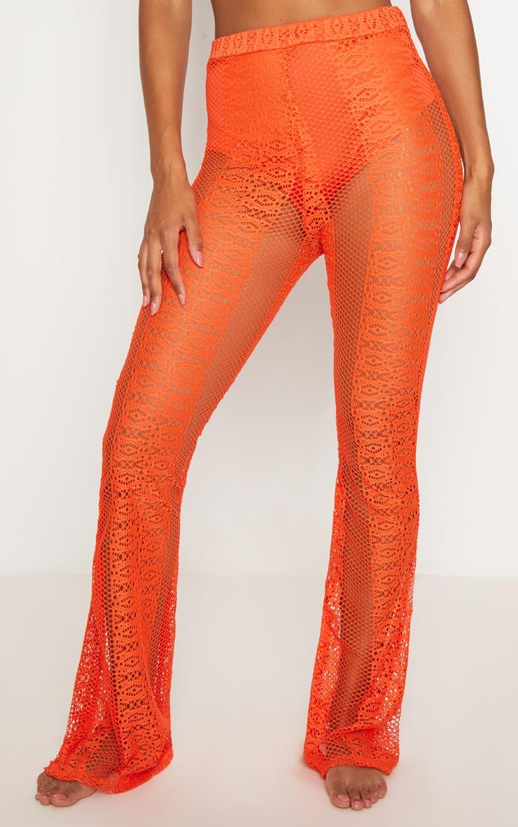 Hot Orange Fishnet Crochet Flare 2