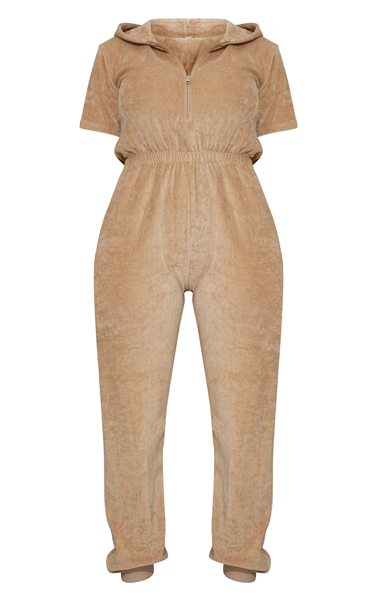 PRETTYLITTLETHING Shape Stone Embroidered Velour Hooded Jumpsuit 5