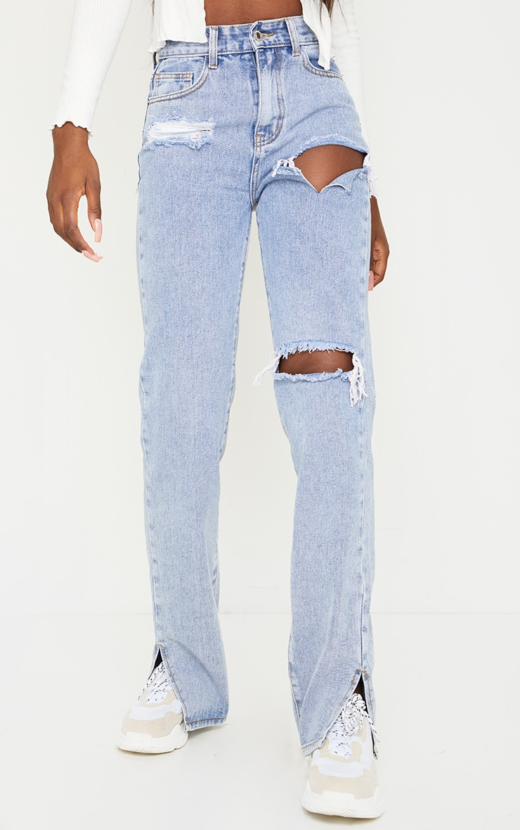 Tall Bleach Wash Distressed Split Hem Jeans 2