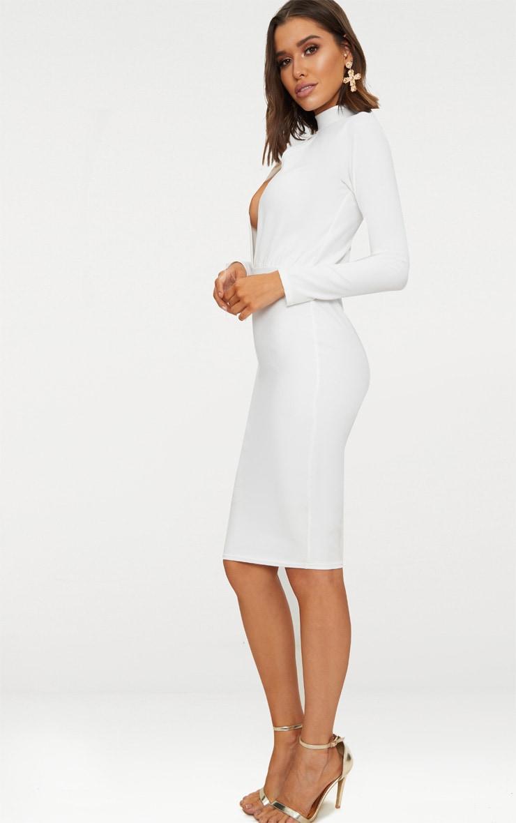 White Keyhole Cut Out Midi Dress 4