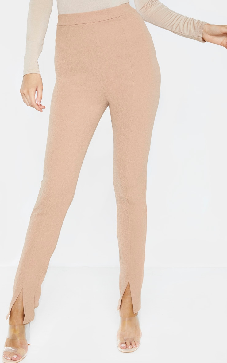 Tall Camel High Waisted Crepe Split Hem Trouser 2