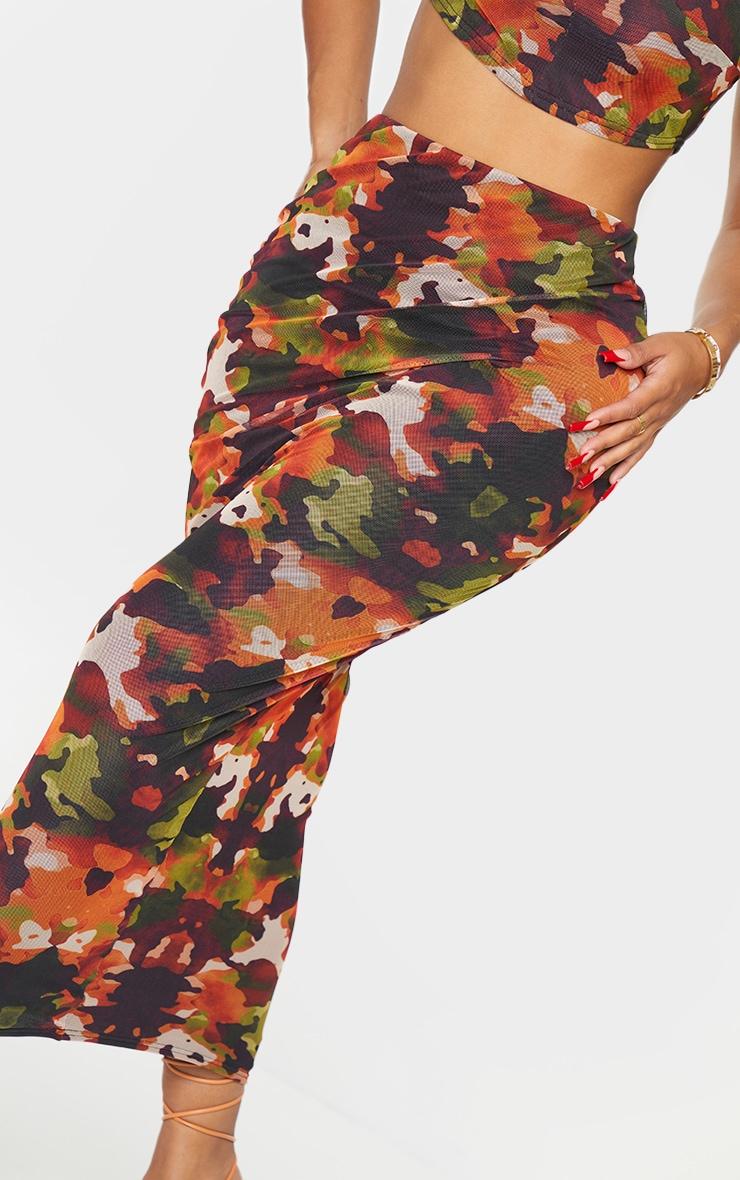 Shape Orange Camo Print Mesh Midaxi Skirt 4