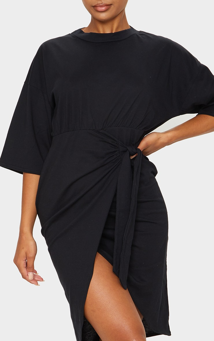 Black Wrap Tie Detail T Shirt Dress 3