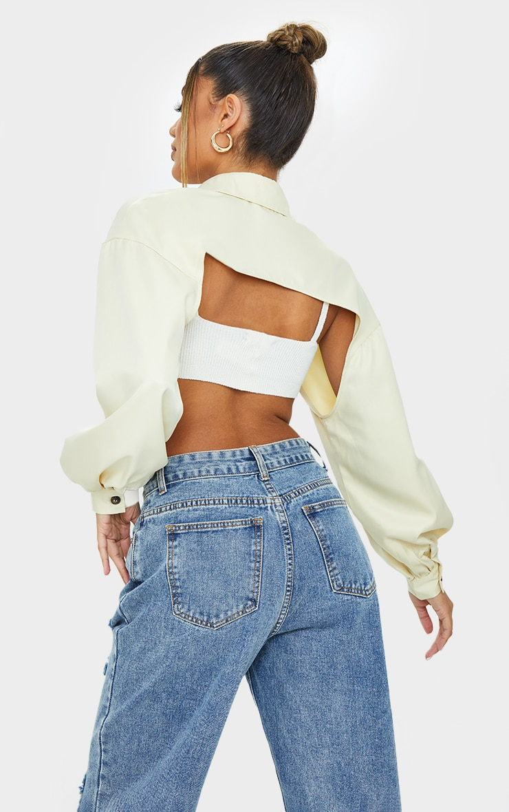 Nude Woven Extreme Cropped Shirt 2