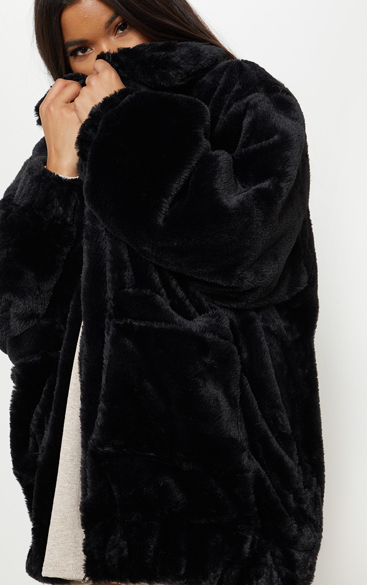Black Pocket Front Faux Fur Coat 6