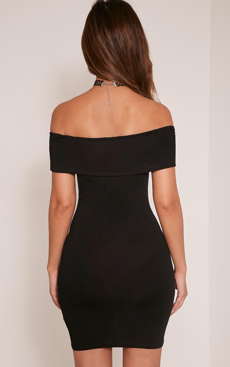 Bethany robe moulante à détail bardot noire 2