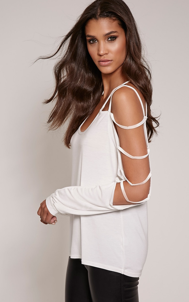 Leesa Cream Strappy Sleeve Fit Top 1