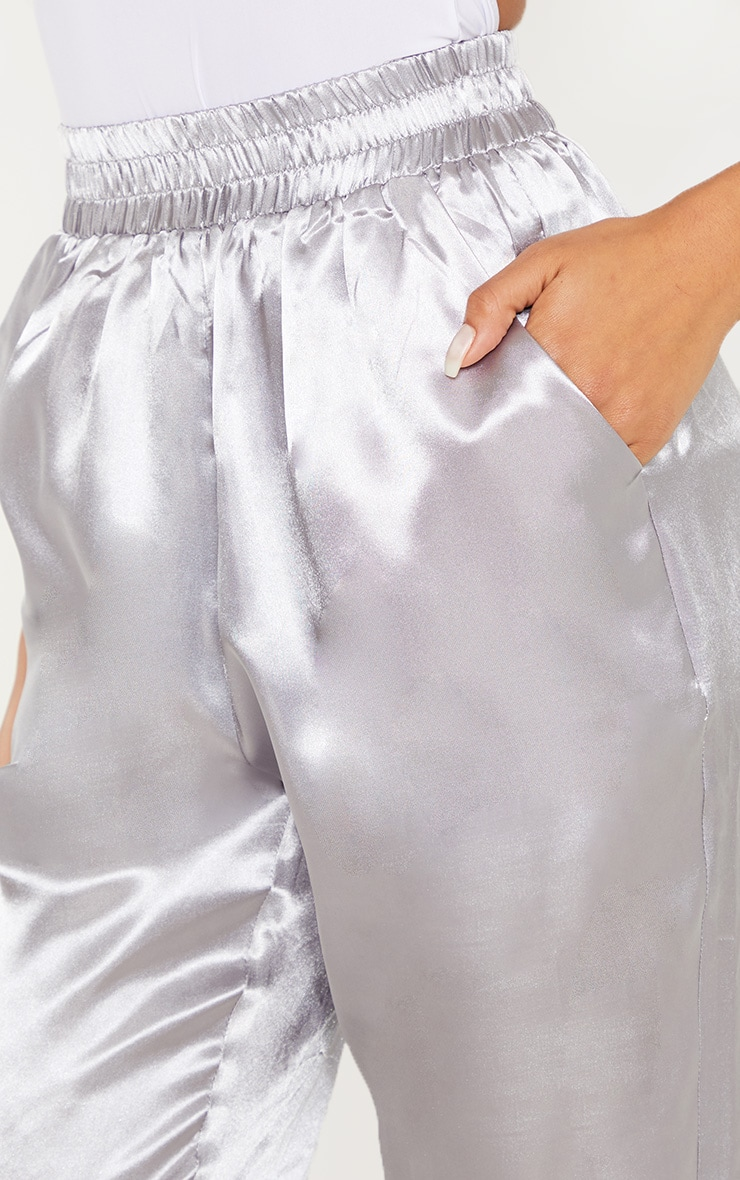 Silver Grey Satin Cigarette Casual Pants 4