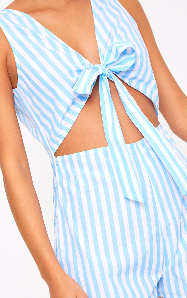 Blue Stripe Tie Front Cut Out Playsuit 5