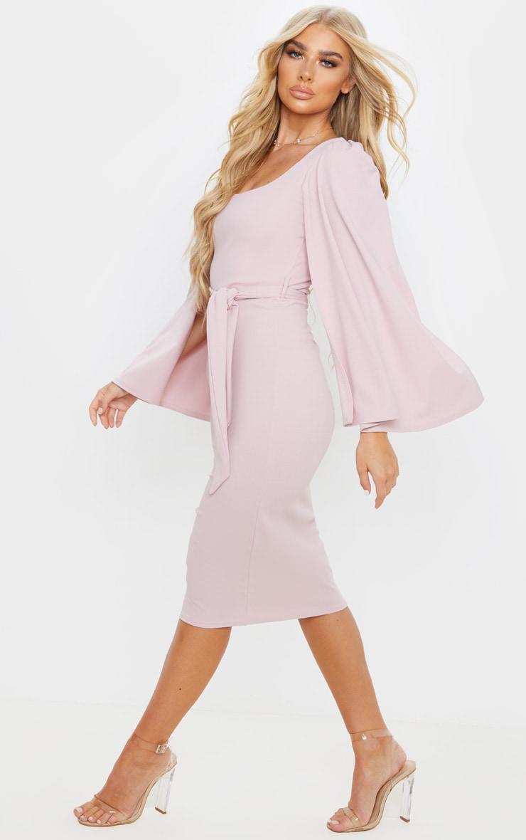 Dusty Lilac Cape Sleeve Tie Waist Midi Dress 4