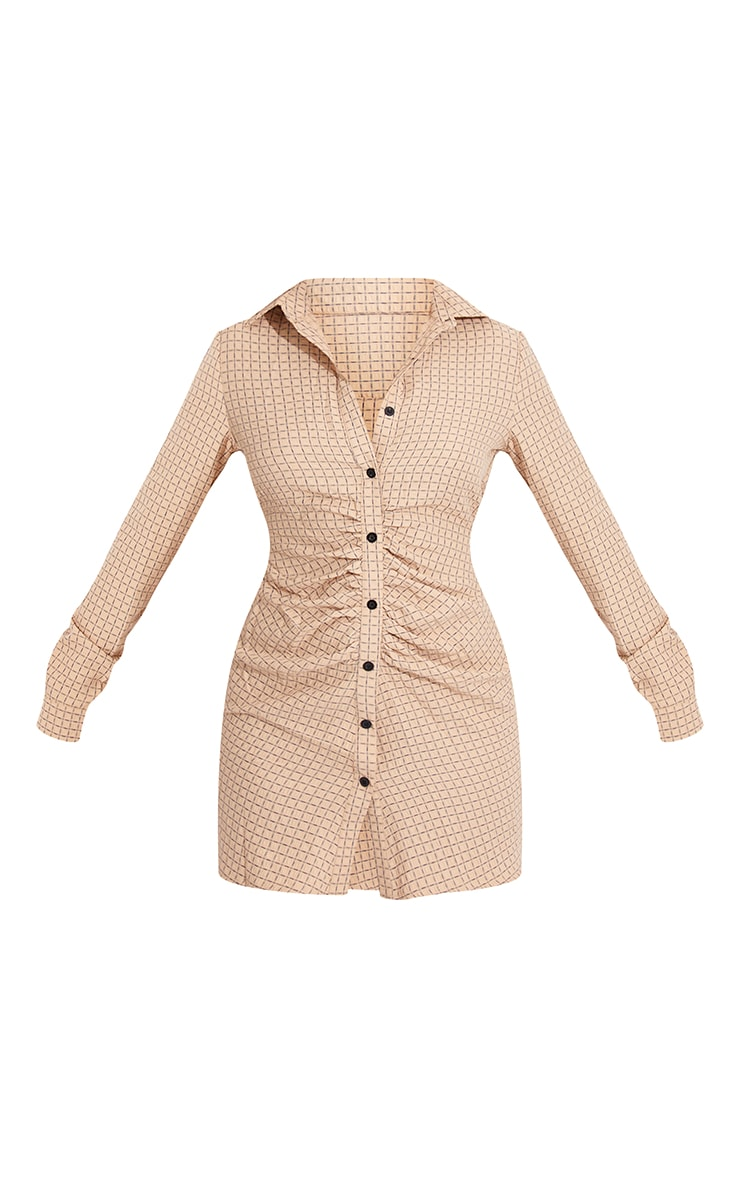 Stone Check Print Button Up Ruched Shirt Dress 5