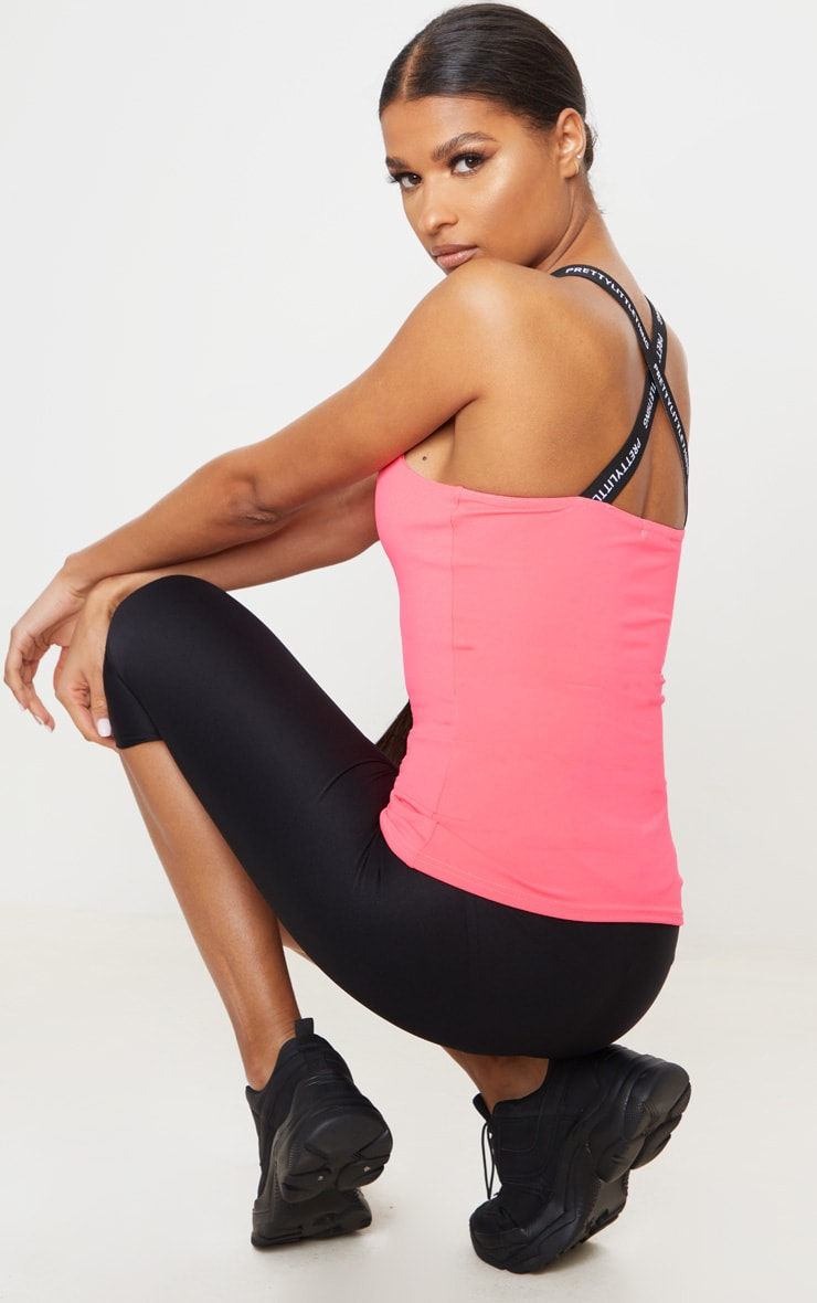 PRETTYLITTLETHING Pink Sport Cross Back Sports Vest 1