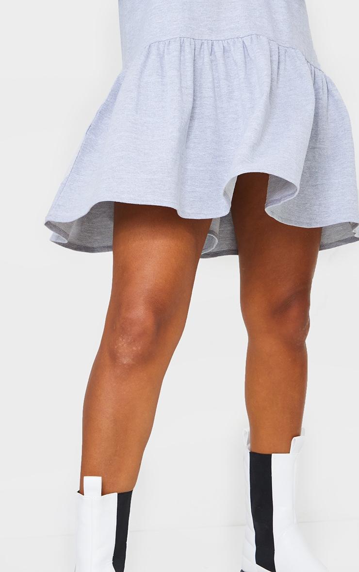 Grey Hooded Long Sleeve Pleated Hem Sweat Jumper Dress 4