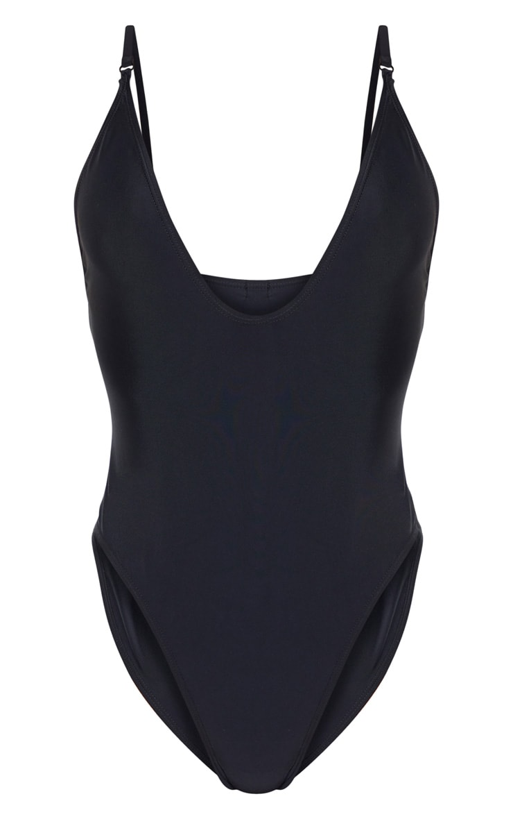 Black Basic Low Scoop Swimsuit 3