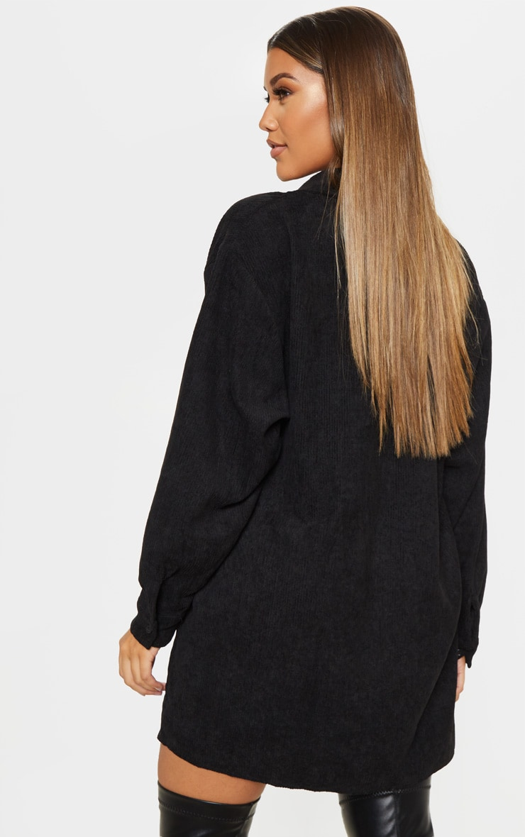 Black Cord Pocket Front Oversized Shirt Dress 2