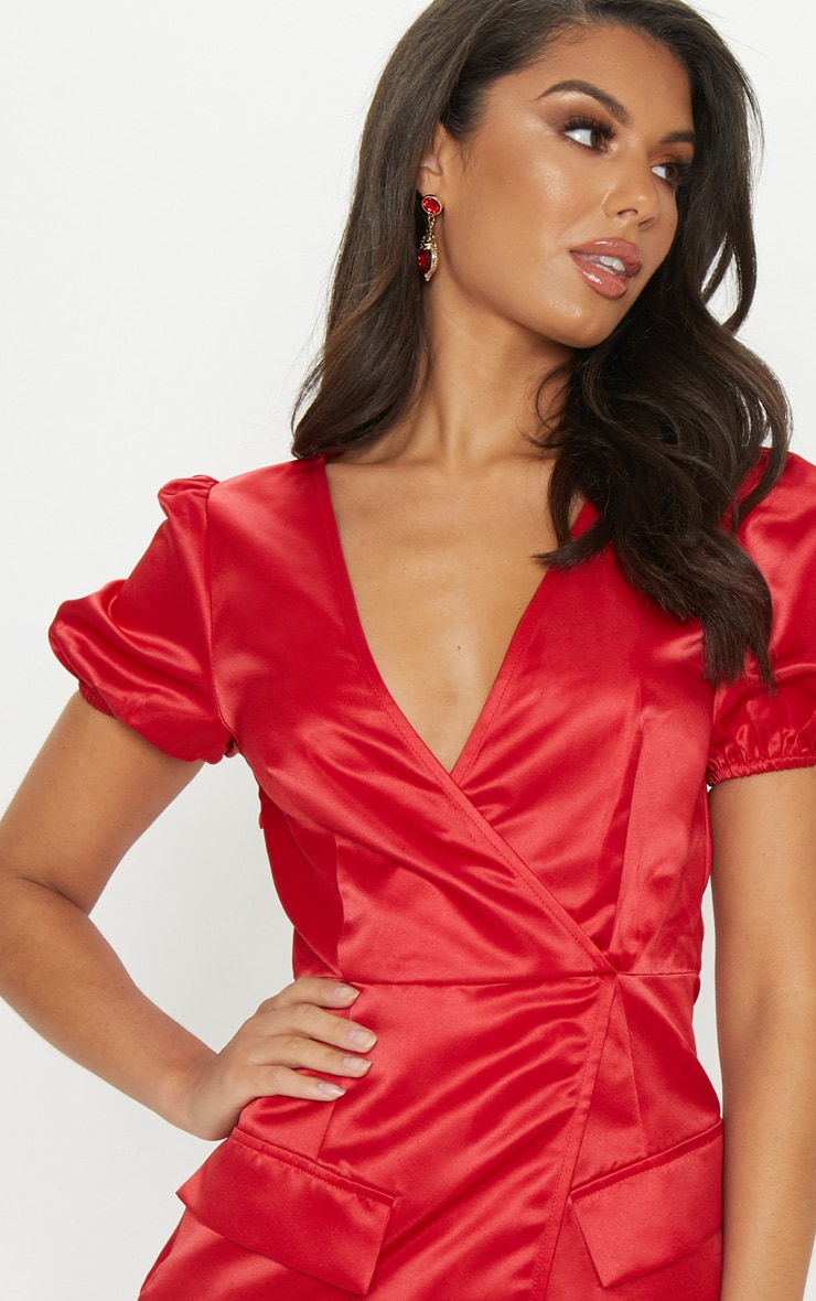 Red Satin Puff Sleeve Pocket Detail Shift Dress 5
