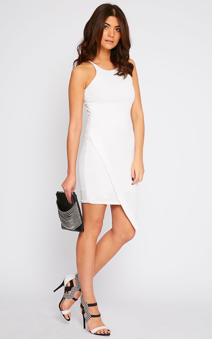 Vanessa Cream Racer Neck Wrap Front Midi Dress 3