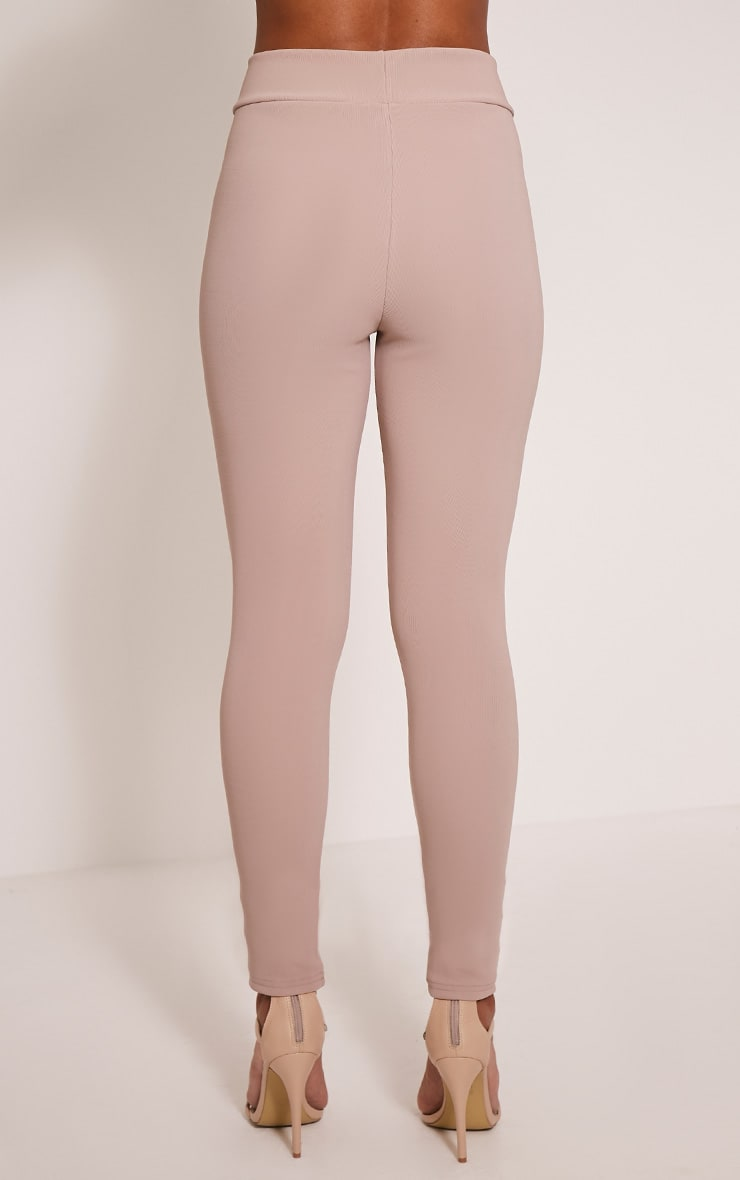 Kirsty Taupe Fine Ribbed Leggings 5