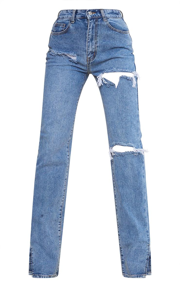 Tall Mid Blue Wash Ripped Split Hem Jeans 5