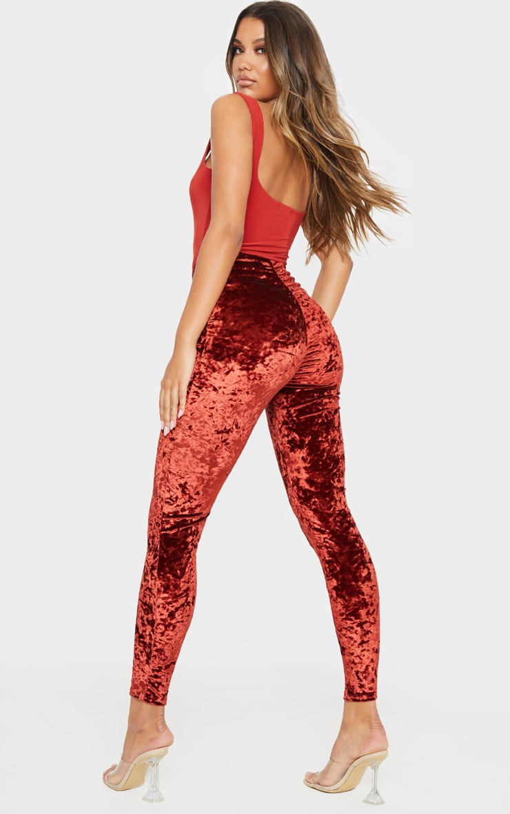 Burnt Orange Velvet Ruched Bum Legging  1