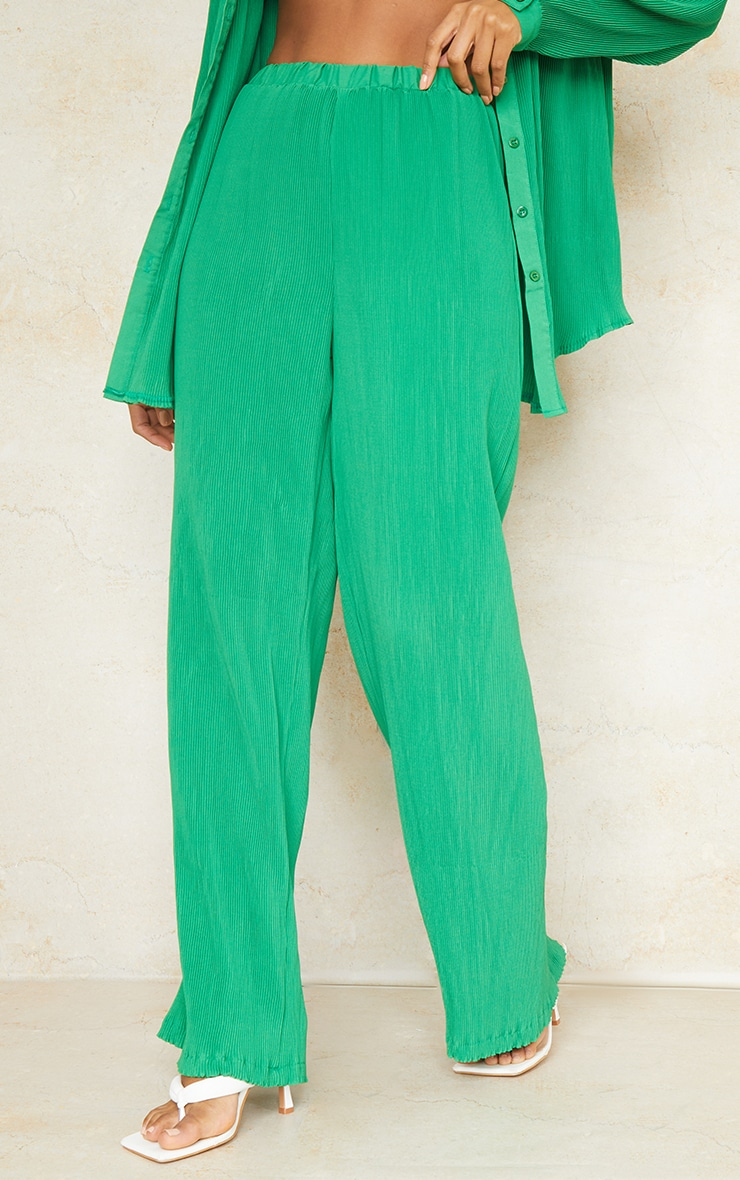 Bright Green Plisse High Waisted Wide Leg Trousers 2