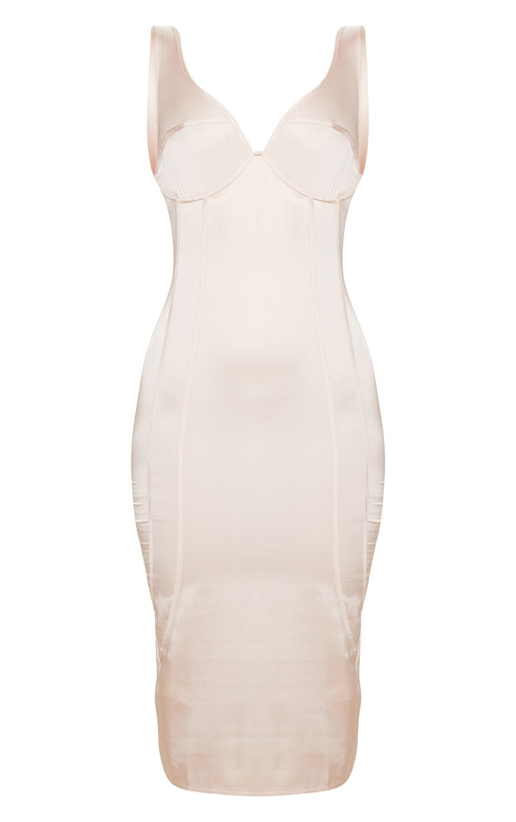 Champagne Satin Underwired Binding Detail Sleeveless Midi Dress 6