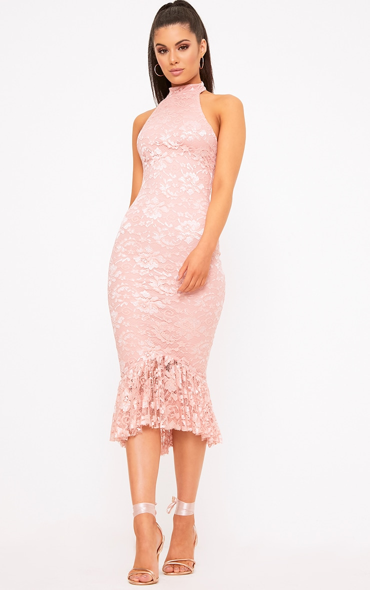 Dusty Pink Lace Halterneck Frill Hem Midi Dress 4