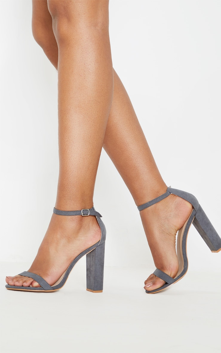 Dark Grey May Faux Suede Block Heeled Sandals  2