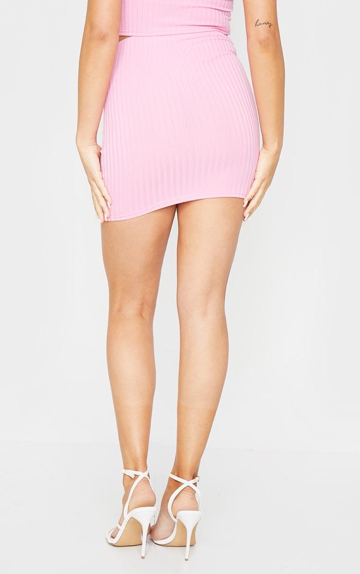 Light Pink Rib Mini Skirt 3