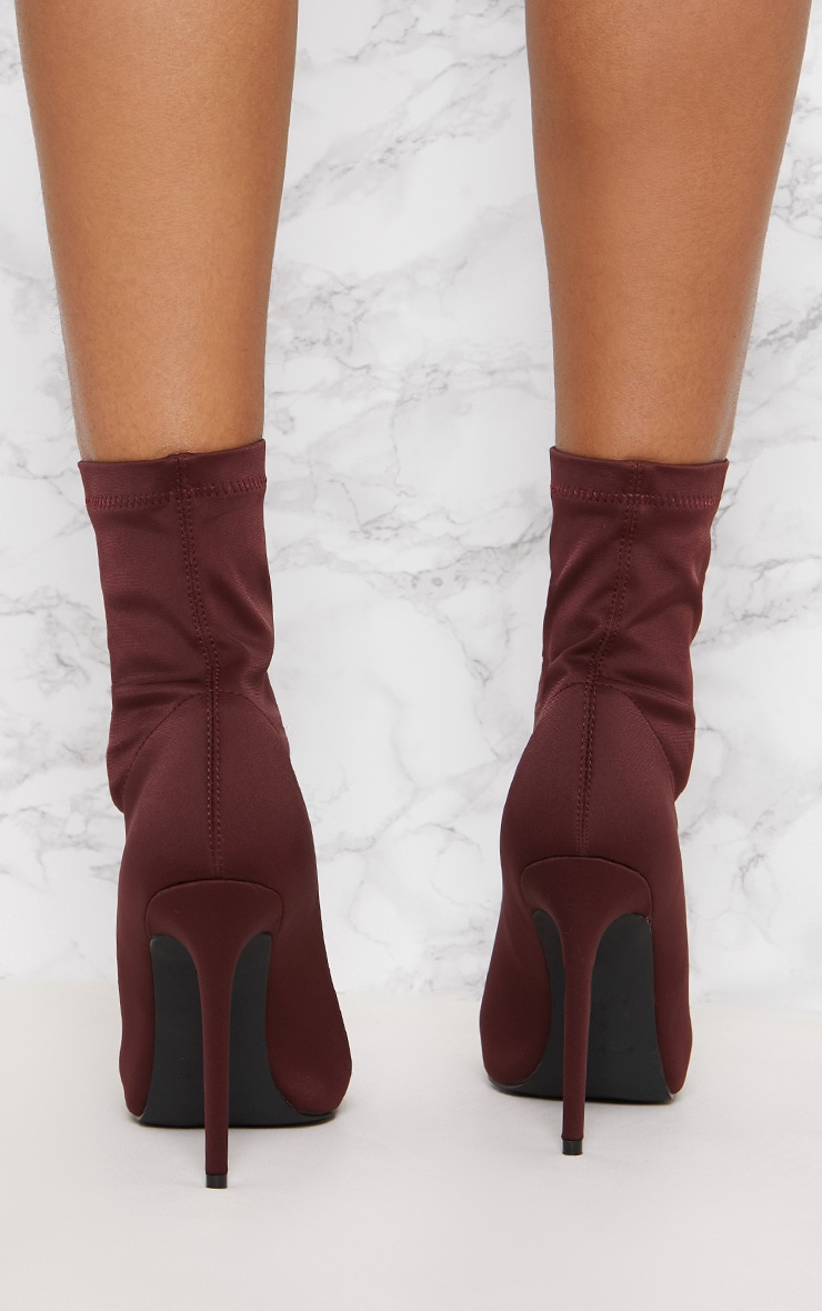 Wine Lycra Zip Front Sock Boot 5