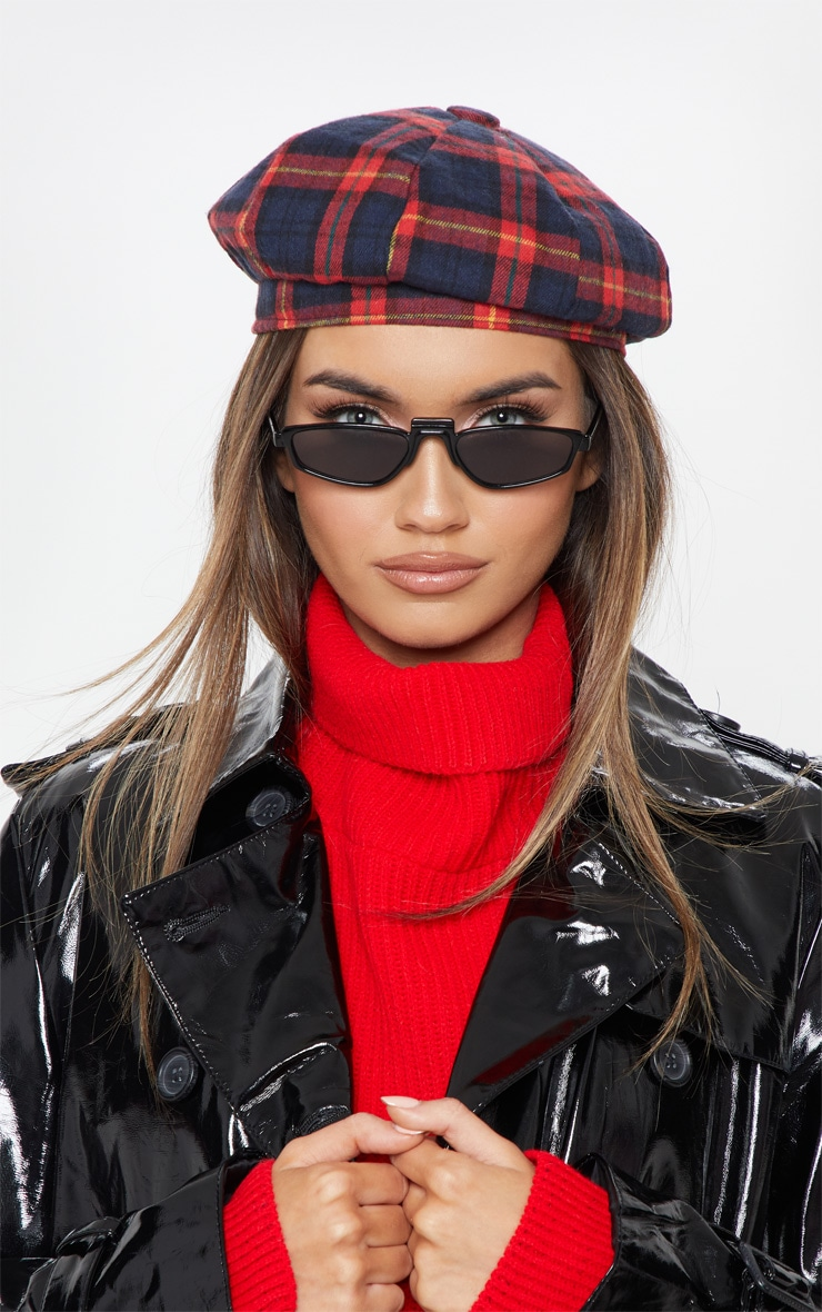 Red and Navy Tartan Beret 1