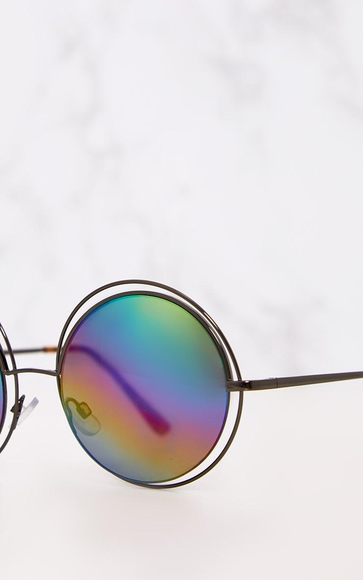 Rainbow Lens Doubled Frame Round Sunglasses 6