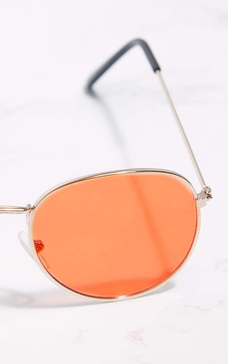 Gold Frame Orange Lens Thin Basic Sunglasses 4