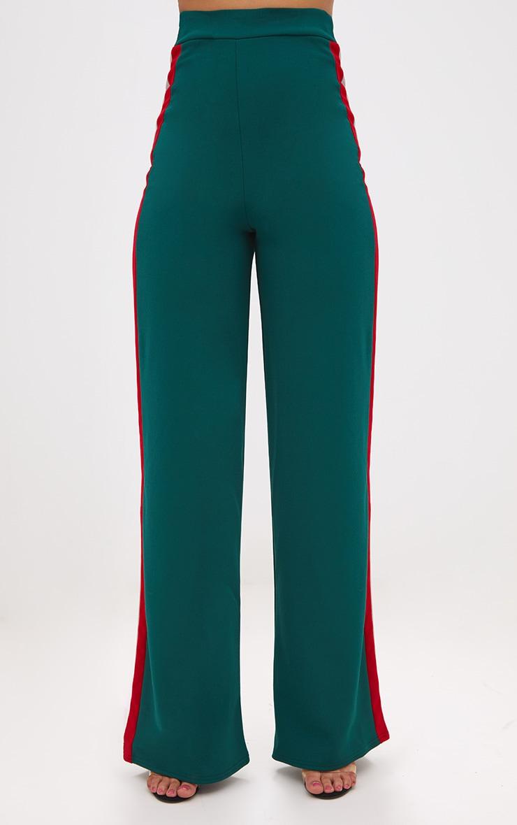 Emerald Green Sport Side Stripe Wide Leg Trousers 2