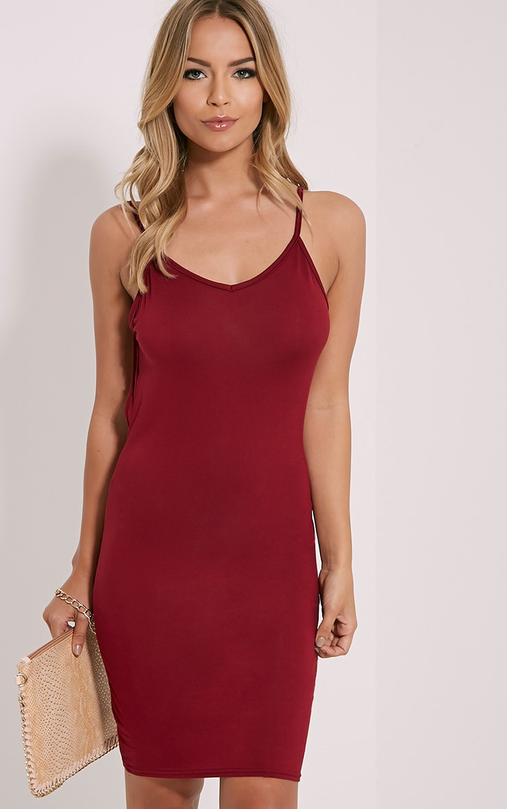Natallia Burgundy Scoop Back Dress 4