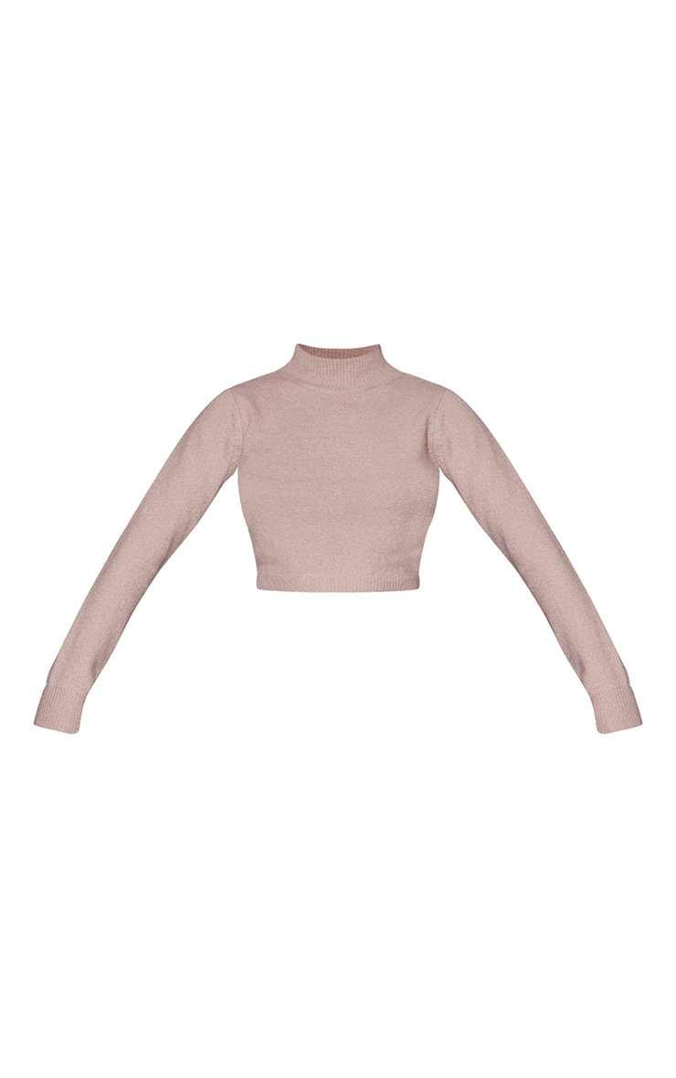 Camel Funnel Neck Crop Sweater 5