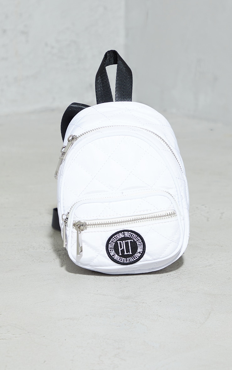 PRETTYLITTLETHING White Quilted Badge Mini Backpack 2