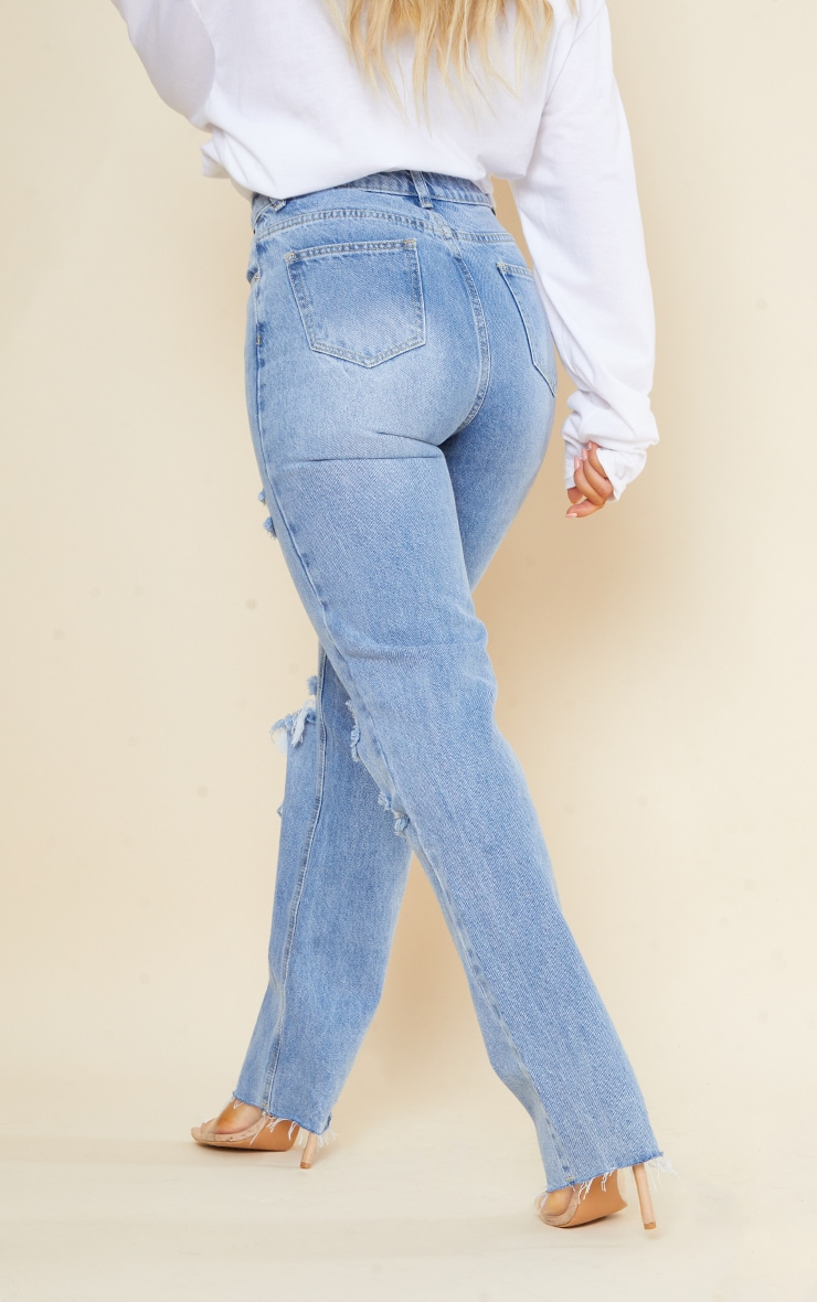 PRETTYLITTLETHING Light Blue Wash Ripped Long Leg Straight Jeans 3