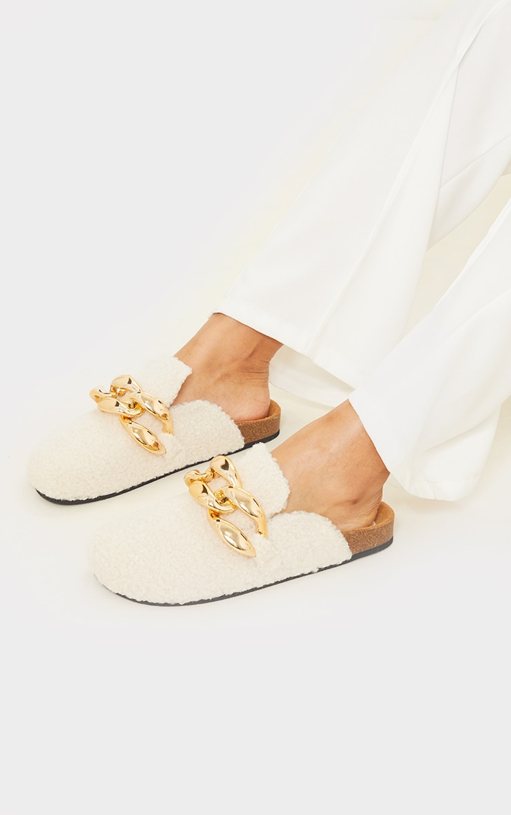 Cream Faux Shearling Chunky Chain Mules 2