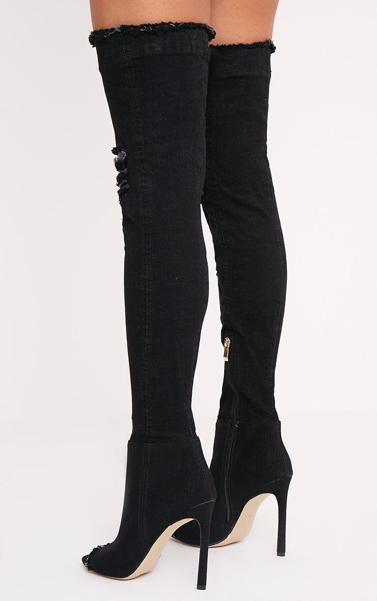 Kaylia Black Distressed Denim Thigh Boots 4