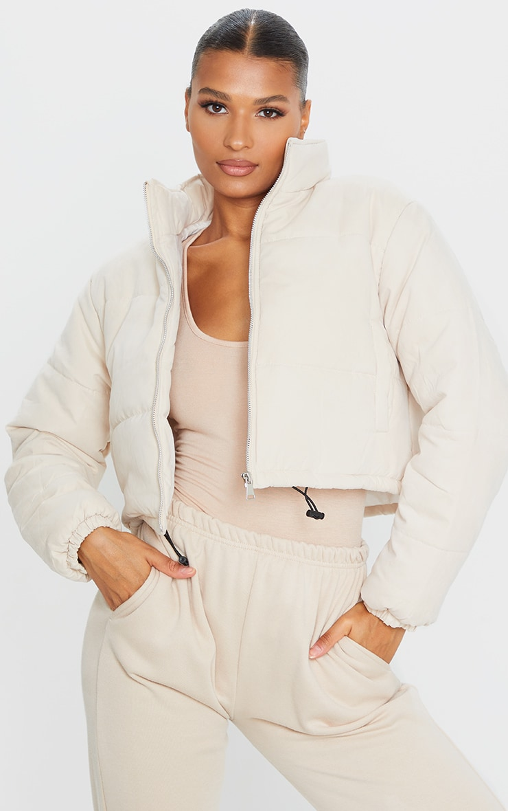 Cream Super Cropped Peach Skin Puffer 1