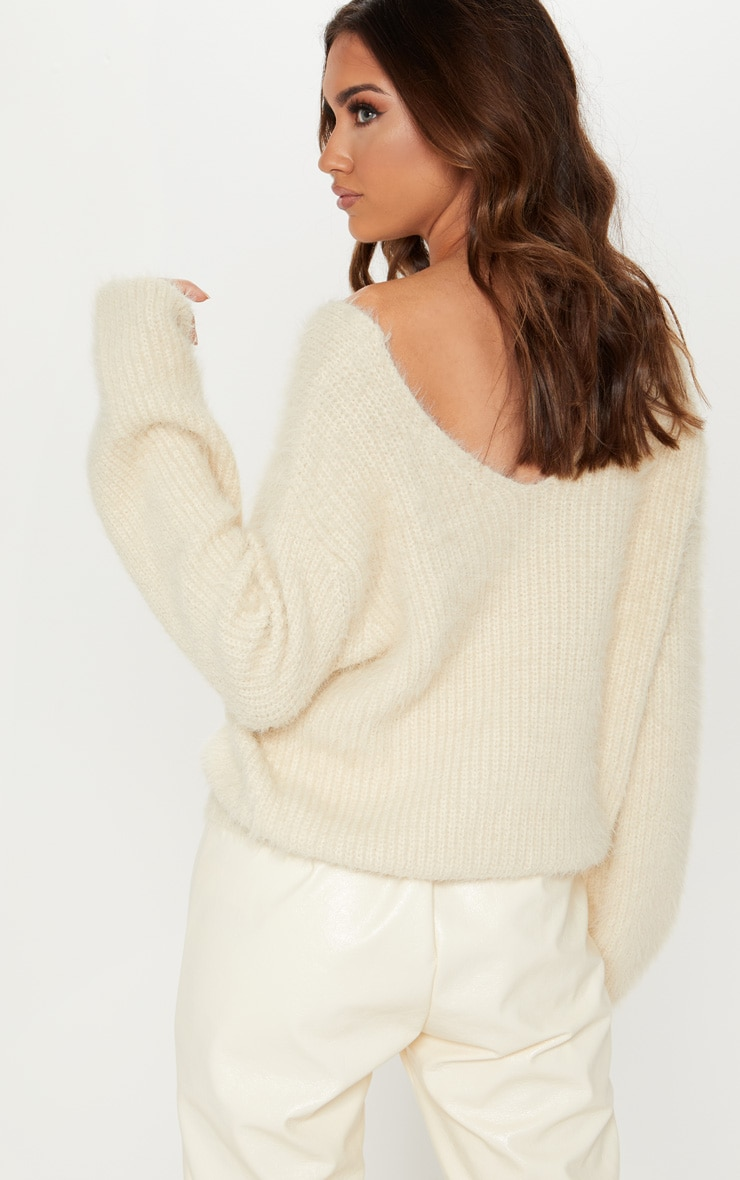 Cream Eyelash Knitted Sweater 2