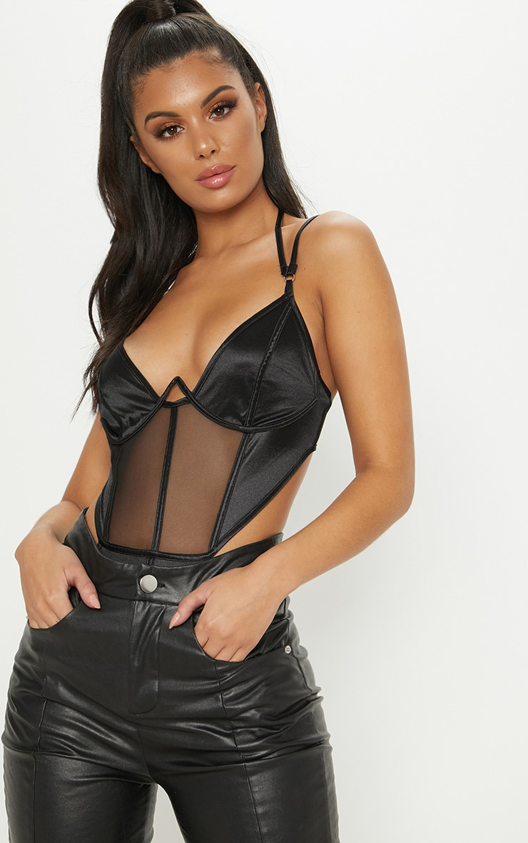 Black Satin Mesh Wire Bodysuit 1