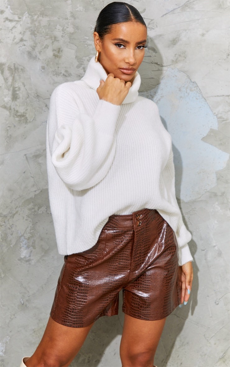 Chocolate Faux Leather Croc Effect Shorts 4