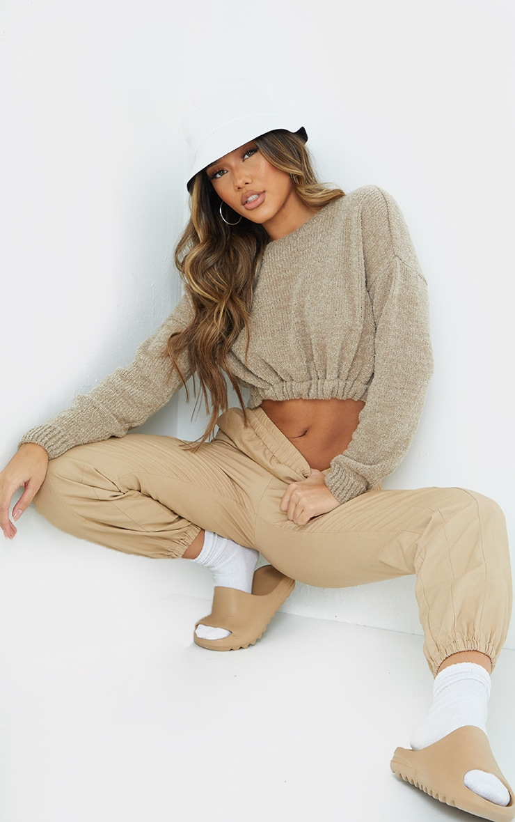 Camel Drawstring Knitted Boucle Crop Sweater 1