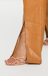 Tan Faux Leather Croc Split Hem Skinny Trousers 4