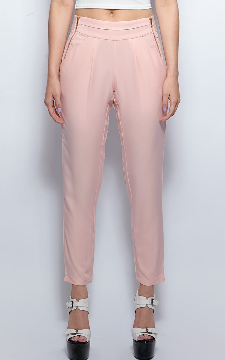 Breanna Pink Tailored Linen Trousers 3