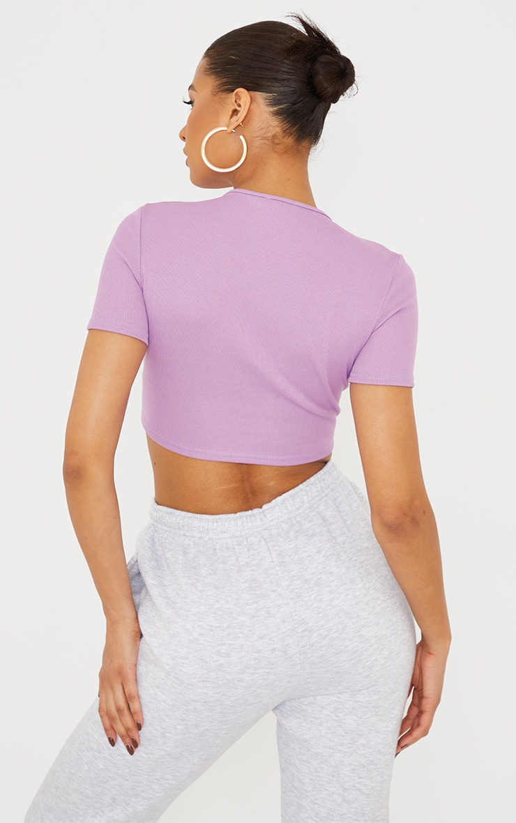 Lilac Structured Rib Underbust Detail Short Sleeve Crop Top 2