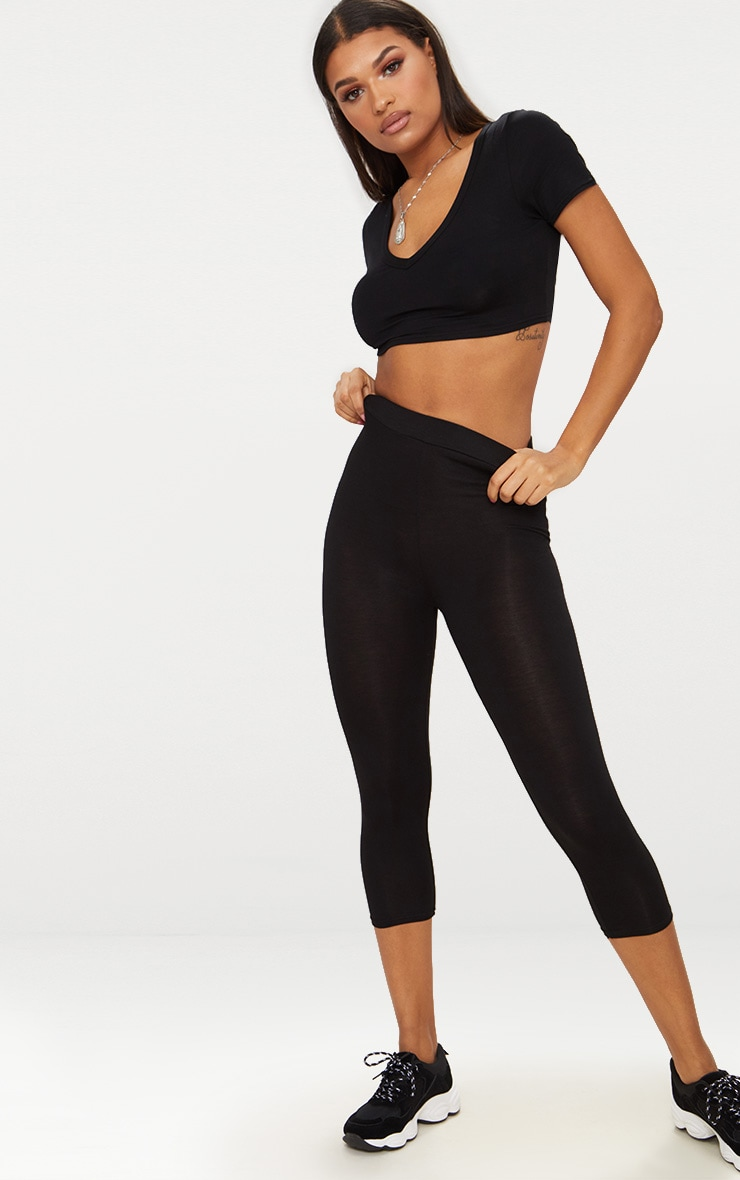 Basic Black Cropped Jersey Leggings 1
